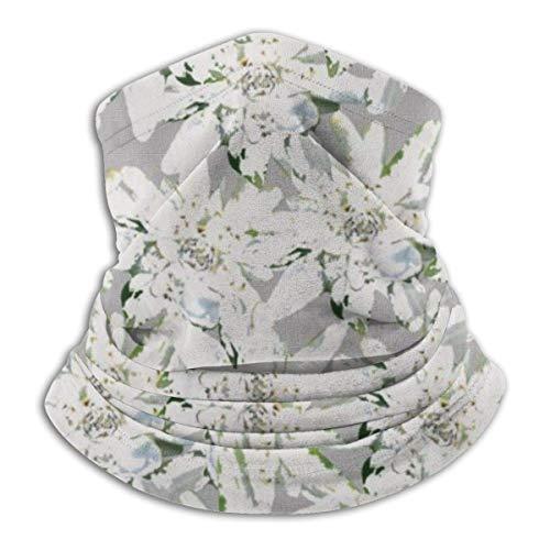 IZOU Modern Edelweiss Swiss Alpine Flowers Neck Gaiter Face Mask,Multifunction for Man Women seasons Magic Scarf Bandana Balaclava