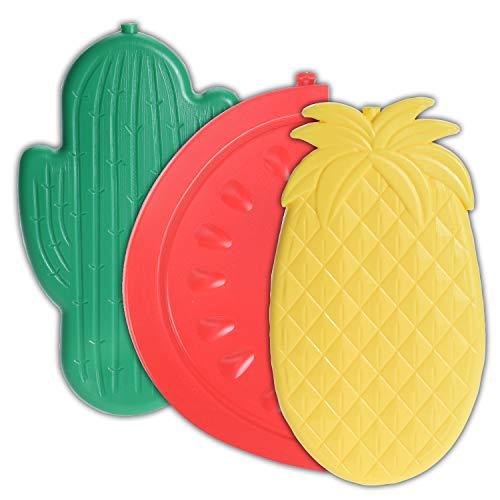 Splendole Gefrierblöcke – Packung mit 3 kleinen Reise-Kühlakkus für Kühltaschen in Fruchtform