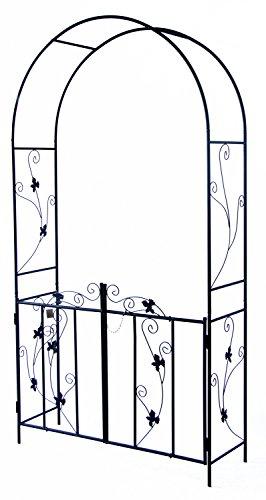 Woodside Rosenbogen mit Pforte - Torbogen für Kletterpflanzen - dekorativ - Metall