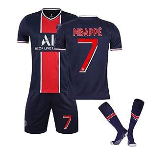 2020/21 ホームアンドアウェー兼用サッカーユニフォーム。PSG エムバペ ネイマール ディ・マリア専用サッカーユニフォーム。サッカーユニフォーム子供成人サイズtシャツ、短パン上下セット、靴下付き #7-L
