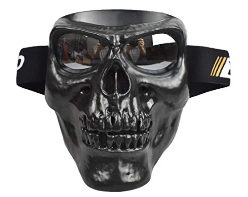 JFFCESTORE Motorbike Motorcycle Off-Road Riding Skull Full Mask with Goggles Glasses for Tactical Helmet M88,MICH Motorcycle Open Face Helmet(Black Silver)