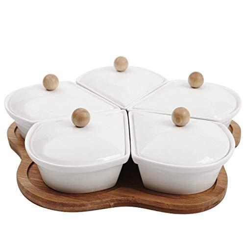 ZGQA-GQA Placa de dispensación, de cerámica Plato de frutas, frutos secos de la caja, con la tapa del compartimiento de la caja de cerámica, Dried Fruit Plate, melón placa (color: 6903200000)