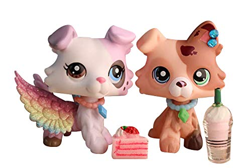 Judylovelps Ice Cream Collie and Butter Collie, 2pcs lps Rare Figures with Different Eyes Dogs with Accessories Kids Gift