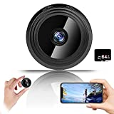 Mini Spy Camera 1080P Hidden Camera (Include a 64G SD Card), with Audio and Video Live Feed WiFi Wireless Cameras, 1080P HD Nanny Cam with Night Vision Motion Detection for Home Bedroom Car