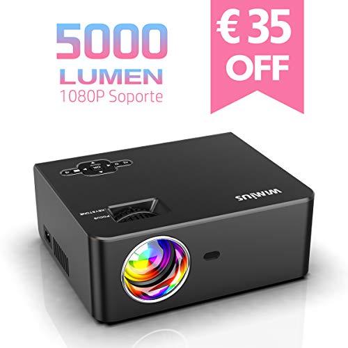 Proyector, WiMiUS 5000 Lúmenes Proyector de Cine en Casa Full HD Soporta 1080P Audio Hi-Fi Pantalla de 200'', Mini Vídeo Proyector portátil LED 60000 Horas para TV Stick/ PS4/ PC/ HDMI/ VGA/ AV/ USB