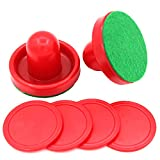 lasenersm 1 Set Mini Air Hockey Pushers and Air Hockey Pucks Great Goal Handles Pushers Goal Handles Paddles Replacement Accessories for Game Tables 60 MM, Red(2 Strikers, 4 Pucks)