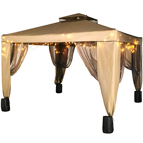 LOVSHARE Outdoor Canopy Gazebo 10x10ft with Four Sandbags - Pop Up Gazebo with Netting - Patio Gazebo Brown for Backyard, Outdoor, Patio and Lawn