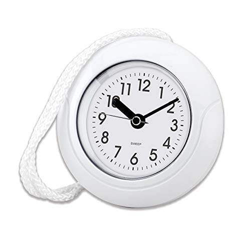 """Impecca Waterproof Clock 5.5"""" Non-Ticking Quartz Movement Indoor & Outdoor Clock for Shower, Wall, Desk, Pool, Patio, Kitchen, Bathroom, Washroom (Hanging Rope Included) White"""