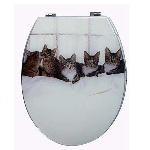 ZYLBDNB Kitty Toilettendeckel, Oben Fester, Gepolsterter Schnellverschluss-Toilettendeckel Mit Verstellbarem Scharnier Toilettendeckel (Color, White),White