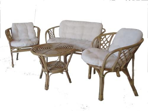 Salotto in Rattan Vimini midollino Naturale Arredamento per Esterno Vimini Set 4 Pezzi Giardino terrazzo 2 poltrone 1 Divano 1 Tavolo