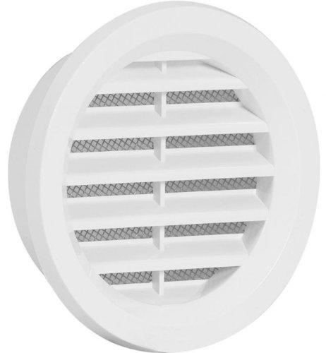 Lüftungsgitter aus hochwertigem ASA Kunststoff Ø 75 mm in weiß mit Insektennetz Gitter Haube