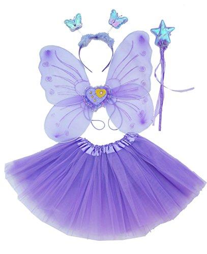 Fun Play Feen kostüm Kinder für Mädchen - Schmetterlingsflügel Kinder Tutu Zauberstab und Haarreifen - Schmetterlingsverkleidungen - Engelsflügel für Mädchen 3-8 Jahre alt -Farbe Violet