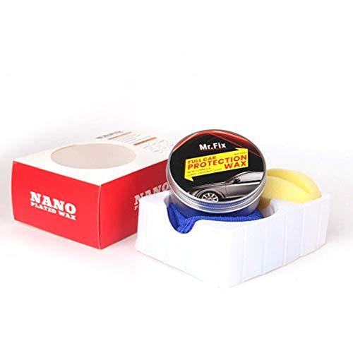 HoneybeeLY Mr.Fix Premium Carnauba-Autowachs, 120 g, Kristall-Hartwachs, Lackpflege für Kratzer, Pflege, Wachsfarbe, Oberflächenbeschichtung (mit Schwamm und Handtuch)