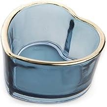 Castiçal vidro coração Azul