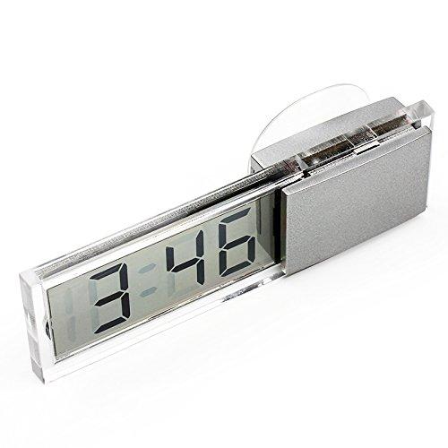 Mini horloge décorative pour tableau de bord de voiture avec écran LCD à ventouse