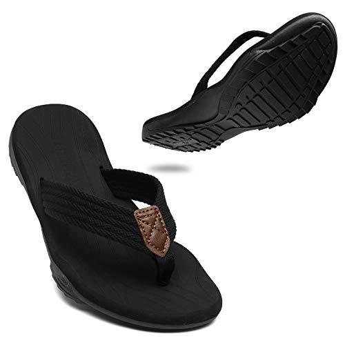 ChayChax Chanclas Hombre Deportivas Sandalias de Playa y Piscina Suave Zapatillas Antideslizante Verano Flip Flops,Negro,42 EU