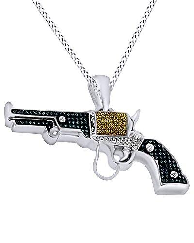 Simulazione Simulata blu & giallo diamante Revolver hip hop ciondolo in argento Sterling 18K (0.95Cttw), placcato oro, argento), argento placcato oro bianco 18 ct, cod. M-IH-310183-WG