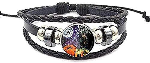 FACAIBA Necklace Woman Man Men S Bracelet Halloween Black Leather Bracelet Bangle Cartoon Jewelry Gifts