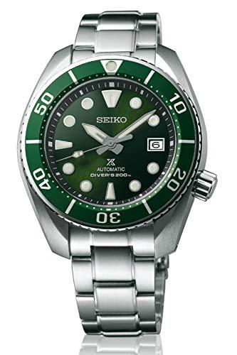"""Relógio Seiko Prospex 3ª geração """"Sumo"""" mergulhador 200 m automático verde com mostrador safira SPB103J1"""