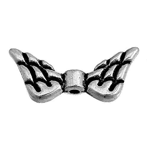 Doreen Caja de 50 separadores de alas de ángel Ch de aleación de color plata 9 x 20 mm para hacer joyas