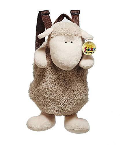 Rucksack Schaf aus Plüsch, 33 cm - Kinderrucksack - Lamm - Plüschtier- Kuscheltier (Beige)