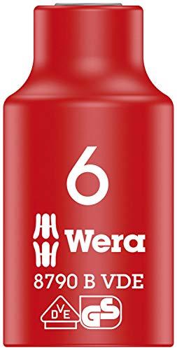Wera 05004950001 8790 B Llave de vaso Zyklop VDE, aislada, con arrastre de 3/8', Red/Yellow, 6.0 x 46.0 mm