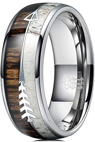 Three Keys Jewelry 8mm Silver Tungsten Wedding Ring with Real Antler Zebra Wood Arrows Inlay Dome Hunting Ring Wedding Band Engagement Ring Size Z+2
