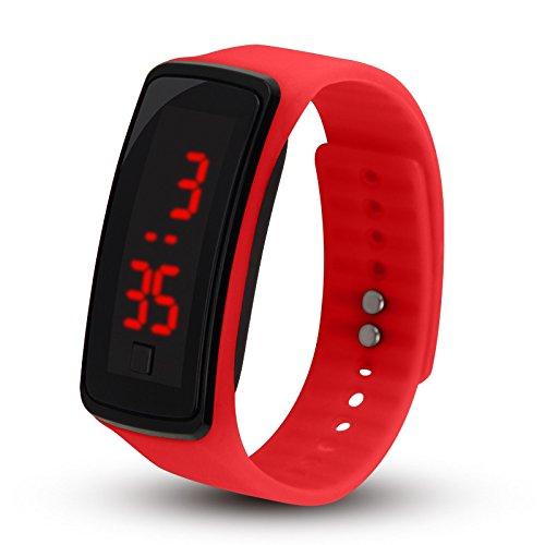 Relojes Digitales para niños, niñas, Hombres, Mujeres, LED Silicone Sport, Anillos Delgados, Relojes de Pulsera de Silicona Rojo