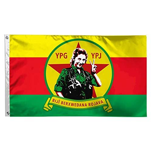 DUSH YPG YPJ Damen Peace Rojava-Flagge, strapazierfähig, verblasst Nicht, leicht, Polyester Banner