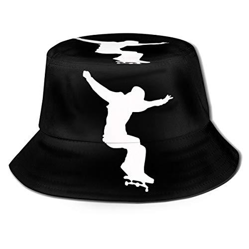 Skater Printed Fisherman Bucket Sun Hat, Funky Junque Bucket Caps, Dad Hat Black