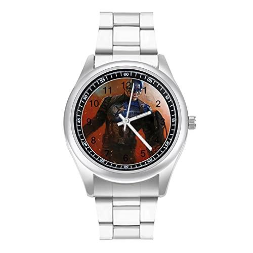 Reloj de pulsera de acero con banda de acero para negocios y estilo deportivo de Captain America