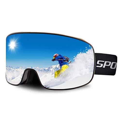 DUDUKING Maschera da Sci Occhiali da Sci Snowboard Doppia Lente Anti-Nebbia Anti-graffio e Anti-Vento 100% Protezione UV400 Goggles per Uomini e Donne Unisex Maschere Sci Compatibile con Casco