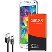 SUNZOS Galaxy S5 Battery, 3200mAh Li-ion Replacement Battery for Galaxy S5 [ I9600, G900F, G900V (Verizon), G900T, G900A (AT&T),G900P(Sprint)
