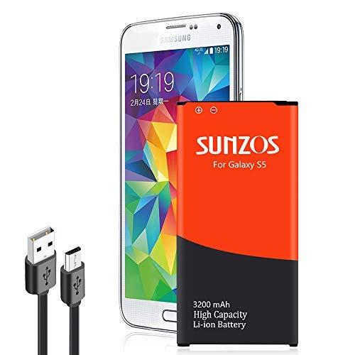 SUNZOS Galaxy S5 Battery, 3200mAh Li-ion Replacement Battery for Galaxy S5 [ I9600, G900F, G900V (Verizon), G900T (T-Mobile), G900A (AT&T),G900P(Sprint)