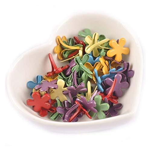 WEIGENG 50 piezas de 12 x 14 mm patrón de flores mezcladas adornos para scrapbooking accesorios sujetador brad manualidades decoración