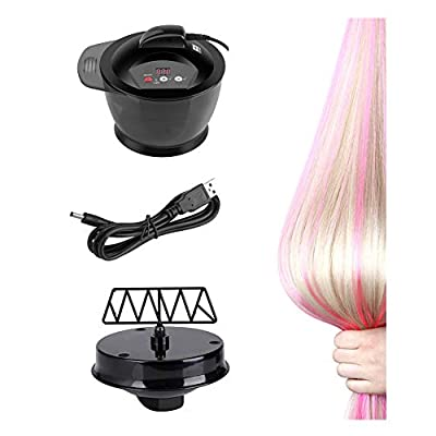 Electric Hair Cream Mixer USB Rechargeable LCD Time Display Electric Automatic Hair Color Mixing Bowl Hair Salon Coloring Bowl DIY Tools Include Hair Color Mixing Bowl and USB