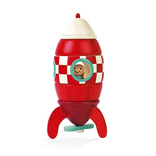 Janod - Wooden Magnetic Rocket to build 5 pieces - 16 cm - Building Game from 2 years old, J05207, Red