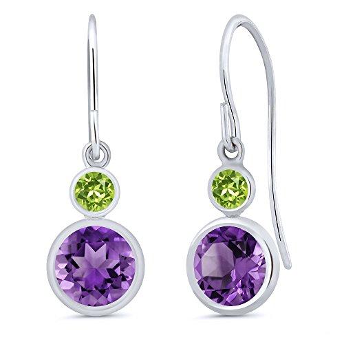 Gem Stone King 1.64 Ct Round Purple Amethyst Green Peridot 14K White Gold Dangle Earrings