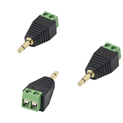 Gelrhonr - Terminal de tornillo de 3,5 mm macho a 2 pines, enchufe de audio StereoTS de 1/8 pulgadas, conectores balun sin soldadura para auriculares y auriculares, paquete de 3