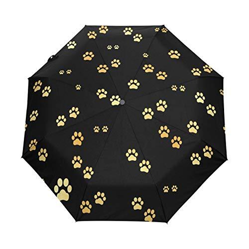 Kleiner Reiseschirm Winddicht im Freien Regen Sonne UV Auto Compact 3-Fach Regenschirm Abdeckung - Hund Gold Paw Animal Footprints