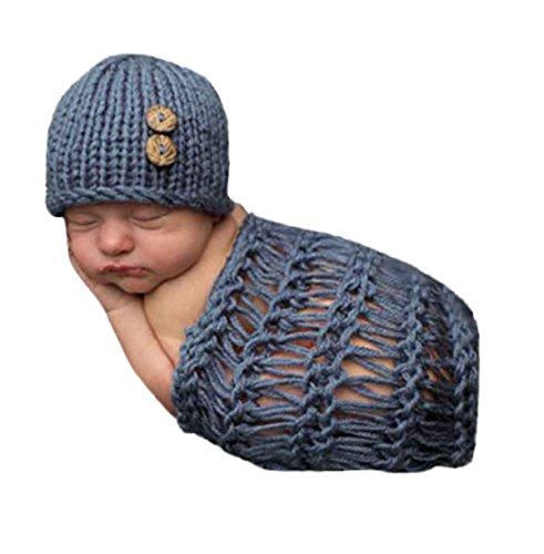 Happy Cherry Neugeborenes Baby Foto Kostüm Fotografie Prop Handarbeit Bekleidungsset Fotoshooting Stricken Kostüm für Baby Junge Trikot Foto Outfits Fotografie Requisiten Für 0-1 Monate - Blaugrau