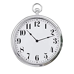 Collections Etc Faux Chrome Old-Time Pocket Watch Design Wall Clock