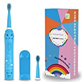 Rechargeable Toothbrush for Children, Sonic Toothbrush for Kids, Smart Electric Toothbrush for Boys Girls Age 3-12, 30s Reminder, 2 Mins Timer, 6 Modes, 2 Brush Heads, Cartoon Design