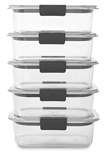 Rubbermaid Brilliance Food Storage Container BPA free Plastic Medium 32 Cup 5 Pack Clear