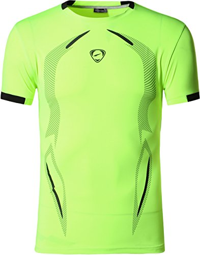 jeansian Hombre Camisetas Deportivas Wicking Quick Dry tee T-Shirt Sport Tops LSL187 GreenYellow L