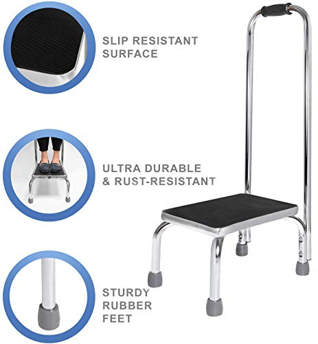 Vaunn Medical Foot Step Stool with Handle and Anti Skid Rubber Platform, Lightweight and Sturdy Stool for Children, Adults and Seniors, Chrome