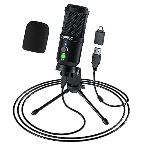 FURINE Microfono a Condensatore, USB Microfono per PC, Tipo-C Plug and Play Microfoni per Giochi, Podcast, Voice Over, Youtube, Riproduzione Vocale, Streaming, Twitch-CM1001