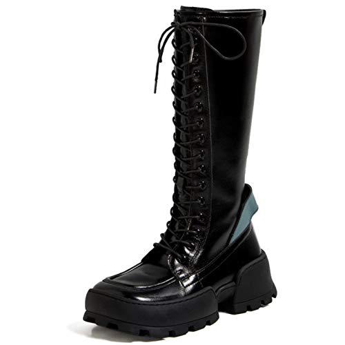Shinelyf Personalidad Botas Mujer Largo Boots Cuero Brillante Buena Elasticidad hasta La Rodilla Varias Tallas Fondo Grueso Forro Cálido,Black Plus Velvet,36