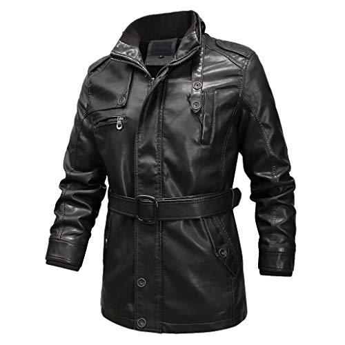 Sale!! WatFY Coat Men's Autumn Winter Jackets Stand Collar Overcoat Casual Leather Coat Waterproof O...