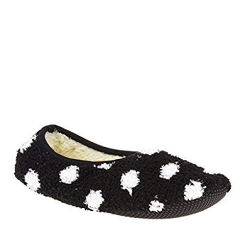 Super Soft Cozy Slippers with Slip-Resistant Bottom Sole (Small (Womens 5.5-7), Black with White Dots)